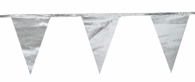 Metallic Silver Traditional 12m 28 Flag Polyester Triangle Flag Bunting
